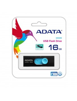 MEMORIA USB 16GB ADATA (UV220) USB 2.0 NEGRO CON AZUL